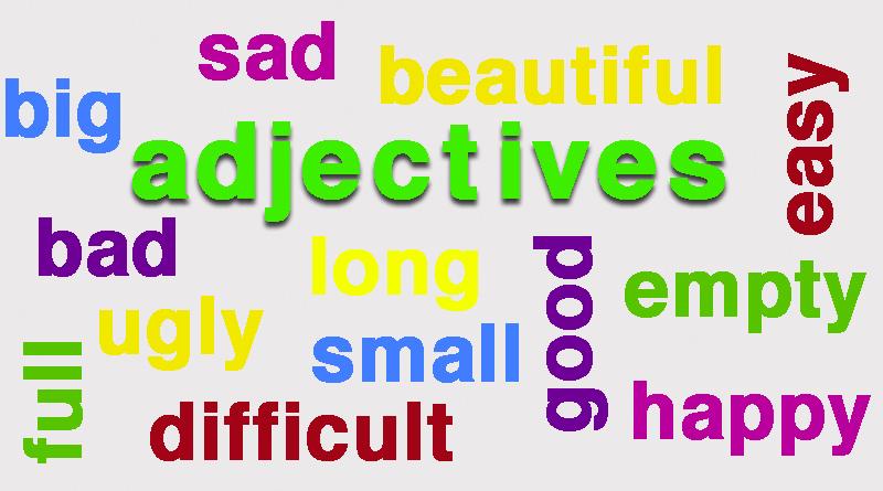 Alguns adjetivos em inglês.